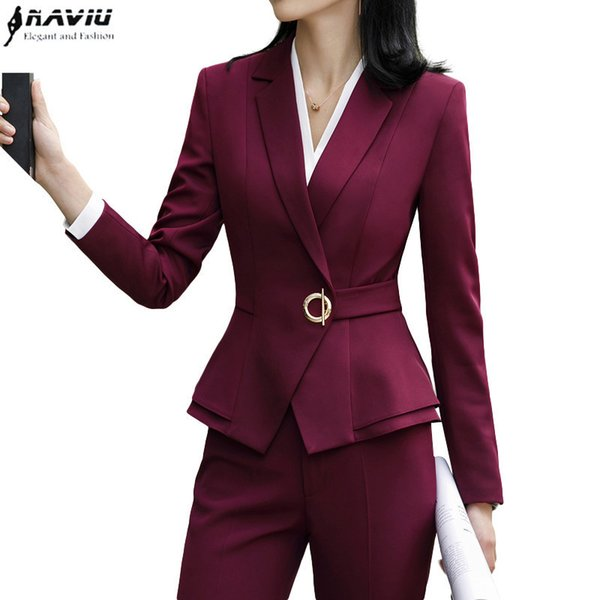 High Quality Winter Suit For Women Two Pieces Set Formal Long Sleeve Slim Blazer And Trousers Office Ladies Plus Size Work Wear SH190716