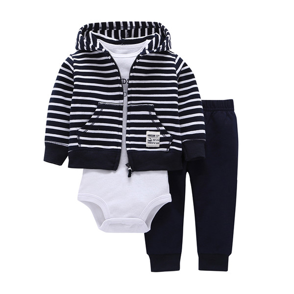 Baby Boy Girl Clothes 100% Cotton Bebes Baby Clothing Three-piece Normal Size Bodysuit & Pants Set Kids Cardigan Clothes Sets J190520