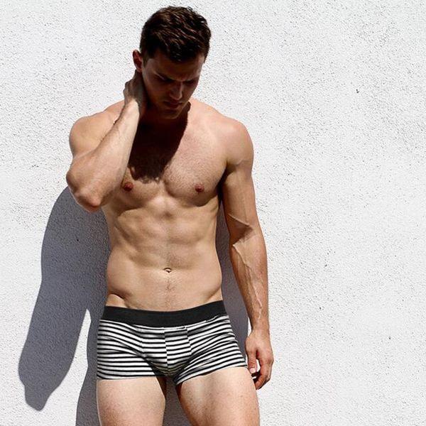 Sous-vêtements pour hommes en gros coton noir blanc et gris série sous-vêtements à angle plat pour hommes Young Boys'Comfortable