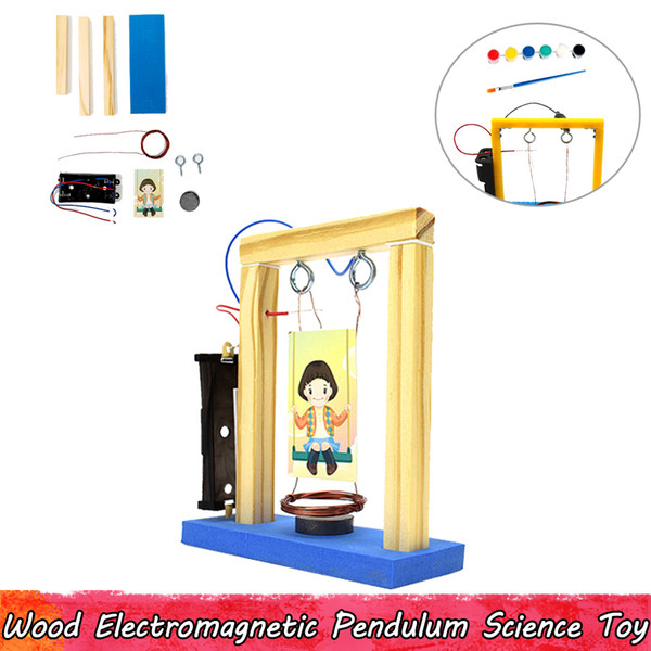 best selling Wood Electromagnetic Pendulum Experiment Science Toys DIY Assembling Educational Toys for Children Improve Brain Ability Gifts