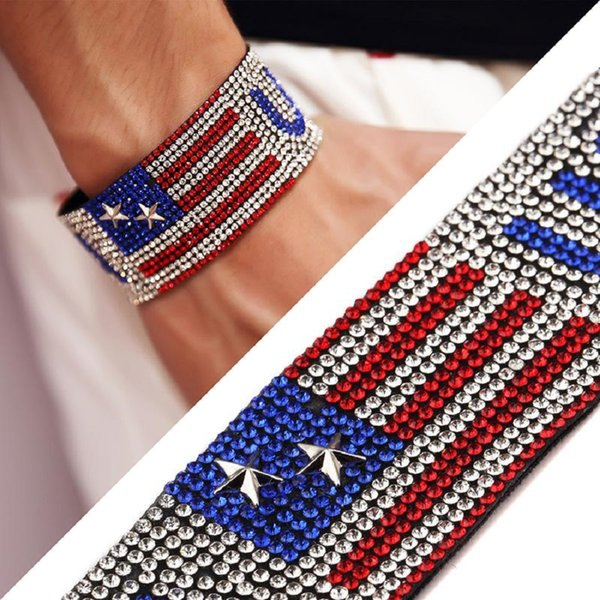Fashion Men Women Leather Cuff Bracelet Magnetic Clasp Designer Jewelry Studded Rhinestone Club USA Hip Hop Design Punk Rock Micro For MEN
