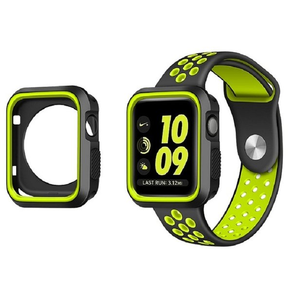 Breathable Silicone strap with Case for Apple watch series 3/2/1-38mm Soft Silicone Sport watchband 38/40mm+Resistant Protective Case 38mm