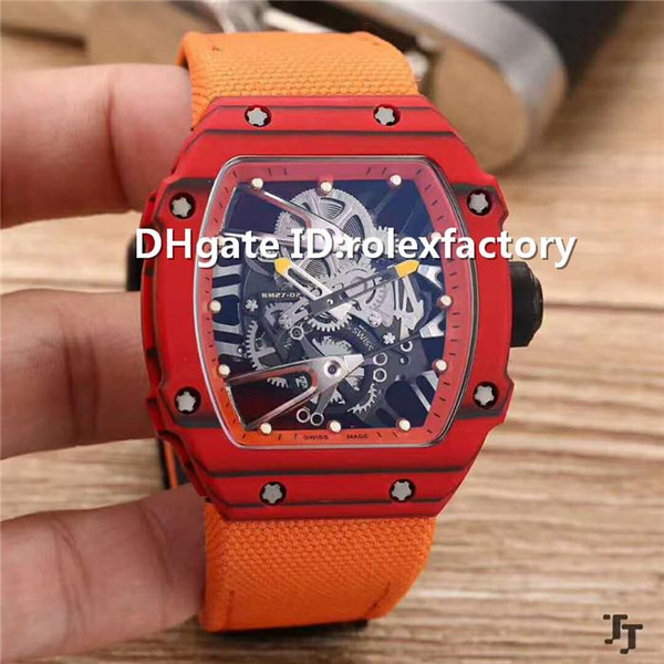 New Luxury 27-02 Tourbillon Automatic Watch Sapphire Red blood Carbon Fiber Case Skeleton Dial calfskin strap Solid Case Back Mens Watch