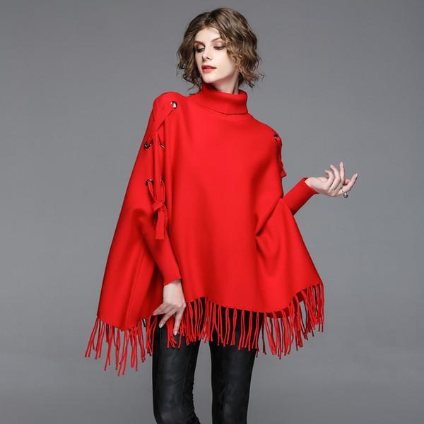 теплая роскошь весна осень великолепная свободная женская одежда вязание свитер плащ вязаный топ секвойя теплая зима бесплатная доставка