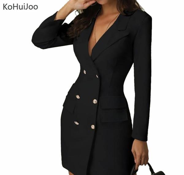 KoHuiJoo señoras de la oficina Blazer blanca negra del vestido ocasional del doble de pecho botón de Bodycon de los vestidos de manga larga Ropa Mujeres