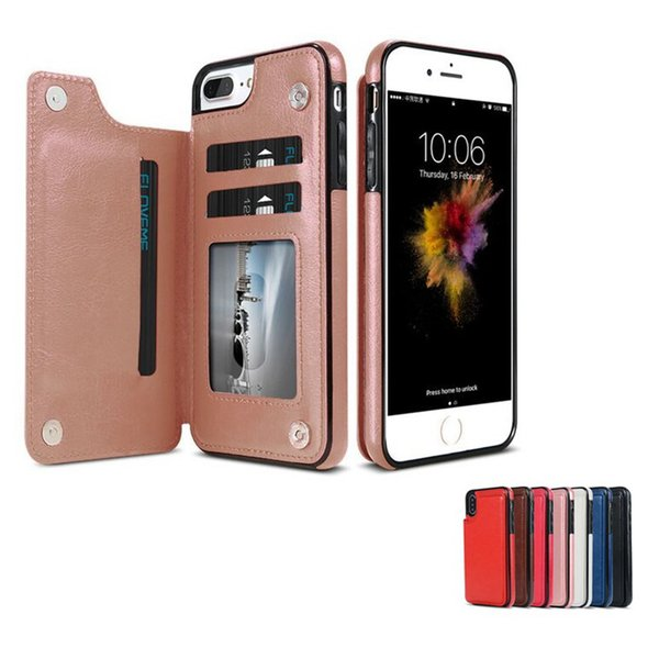 Retro PU Leather Case For iPhone XS MAX XR X 6 7 8 Plus Multi Card Holders Phone Case For samsung S8 S9 S10 PLUS NOTE 8 9 wallet case Cover