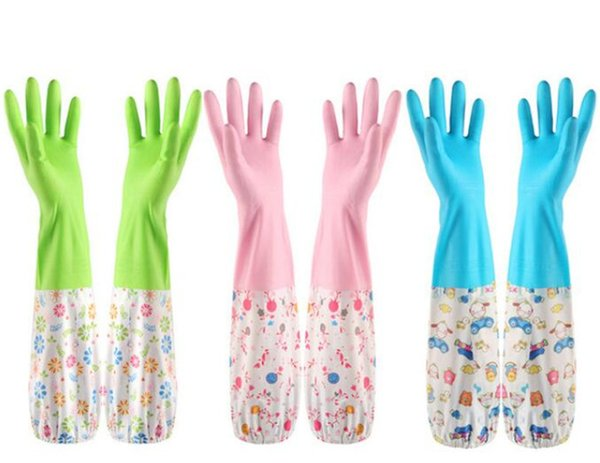 Kitchen Cleaning PVC Gloves Household Warm Durable Waterproof Dishwashing Glove Water Dust Cleaning