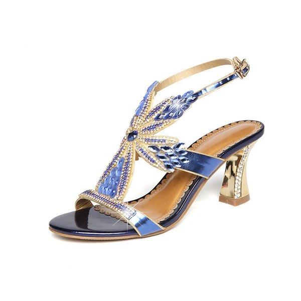 2019Zapatos para mujer Sandalia Ocio Moda Bohemia Estilo Rhinestone Gladiador Sandalias Mujer 2018 Zapatos Peep Toe Scarpe Donna High