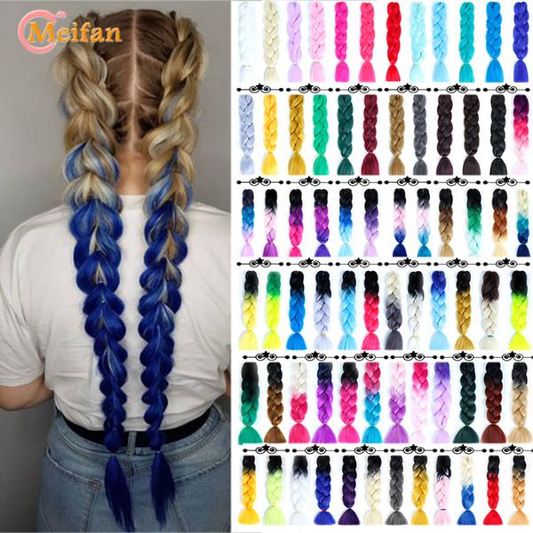 MEIFAN 24 pouces Crochet cheveux de cheveux synthétiques african Jumbo Tresses Bleu couleur Strands Ombre Extensions Tressage