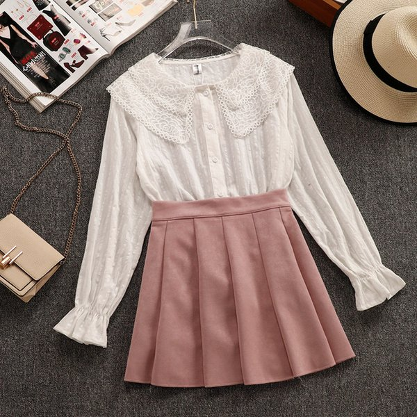 2019 Spring New Student Girls Doll Collar Long Sleeve White Shirt + Pleated Short Skirt Two Pieces Women Sweet Skirt Suits
