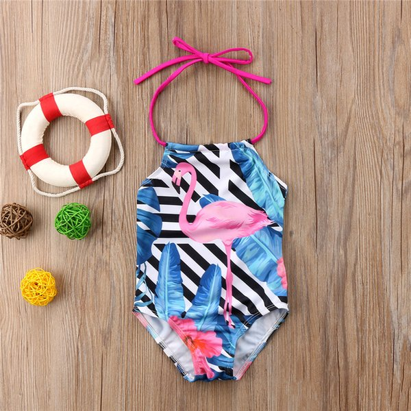 2019 New Summer Cute Baby Girls Flamingo Halter Swimwear One Piece 2-8Y Girls Swimsuit Kids Children Swimming Beachwear Costumes