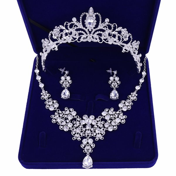 Silver Plated Flowers Crystal Bridal Jewelry Sets Crown Tiaras Statement Necklace Earrings Wedding Accessories Party Jewelry