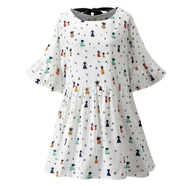 Feitong Fashion Print Vestido de verano Mujer Nuevo Algodón y lino Estampado O-cuello manga flare vendaje Swing Dress Vestidos Verano 2019
