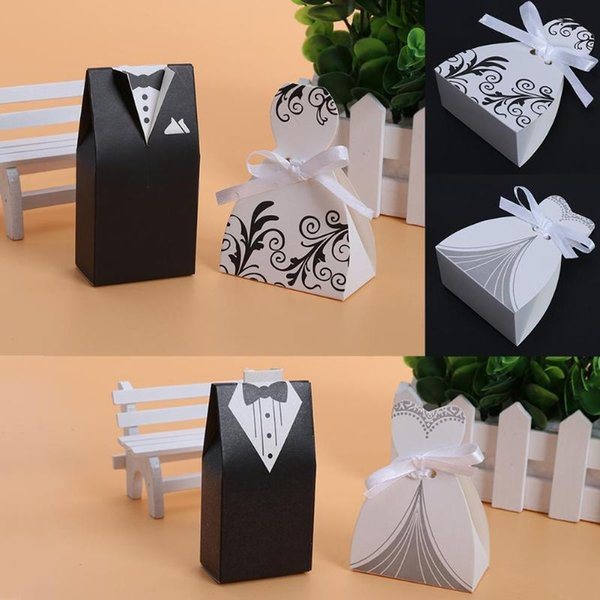 100pcs Candy Box Bride And Groom Dresses Wedding Candy Box Gifts Favor Box Wedding Bonbonniere DIY Event Party