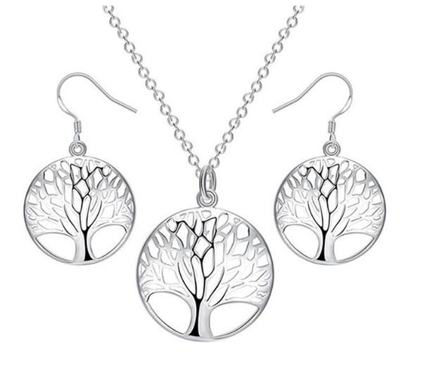 Hayat ağacı disk kolye kolye ve küpe takı seti
