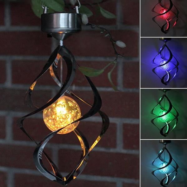 Güneş Enerjisi ışıkları Rüzgar Spinner LED Lamba Açık Asılı Rüzgar Chime Işık Ev Bahçe Aydınlatma Dekorasyon için
