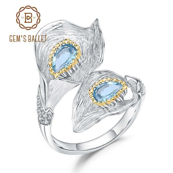 GEM'S BALLET 1.25C Natural Swiss Blue Topaz Calla lily Leaf Rings 925 Sterling Silver Handmade Adjustable Ring for Women Bijoux J190523