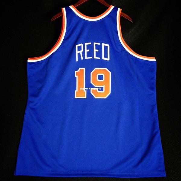 100% Dikişli # 19 Willis Reed Mitchell Ness Dikili Jersey sprewell MAVI Erkek Yelek Boyutu XS-6XL Dikişli basketbol Formalar Ncaa
