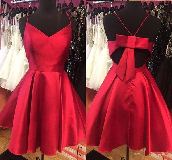 Simple Designed Red Short Homecoming Dresses A Line Spaghetti Strap Criss Cross Backless Mini Cocktail Gowns Graduation For Teens BC2464