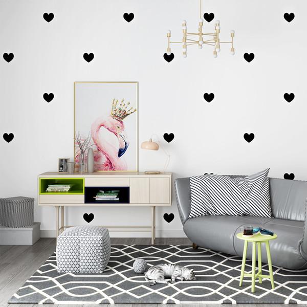 Ins geometría minimalista moderna amor fondo de pantalla en forma de corazón negro rosa corazón sala de estar dormitorio TV fondo de pantalla de pared