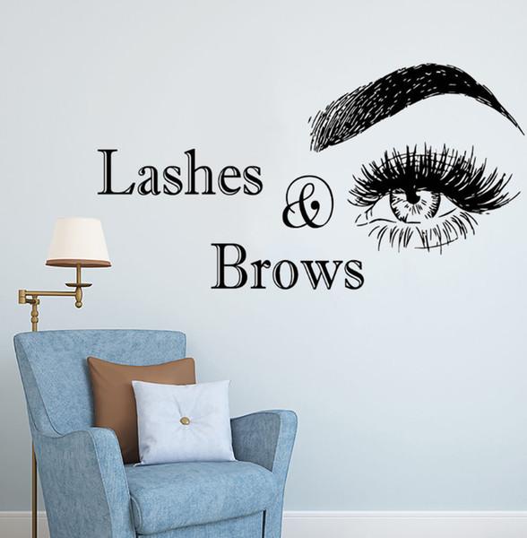 Decal Lashes And Brows Logo Sticker Salón de Belleza Decoración de Vinilo Pegatinas Para Pared Pestañas Maquillaje Arte Ay1085 Q190601