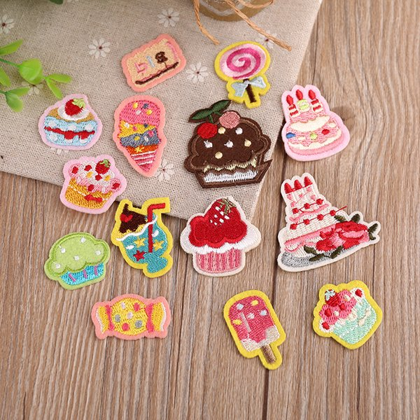 Ice cream Candy Embroidery Patch Heat Transfers Iron On Sew On Patches for DIY T-shirt Clothes Sticker Decorative Applique 47236
