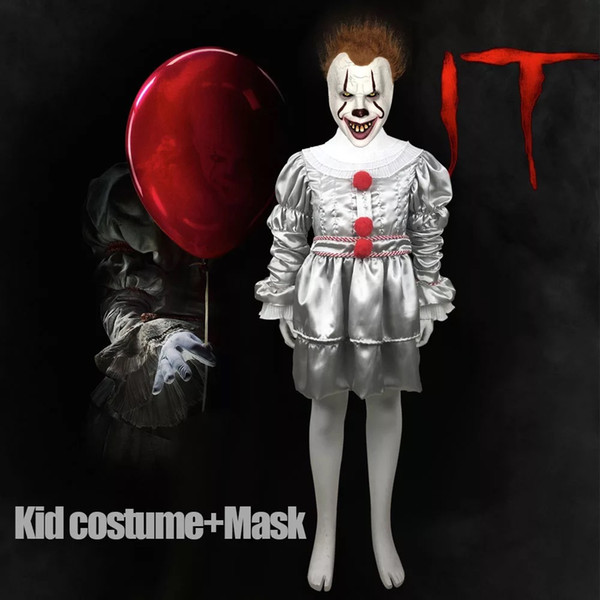Kids Joker Pennywise Cosplay Costume Mask Stephen King It Chapter Two 2 Horror Clown Halloween Kid Party Costumes Props