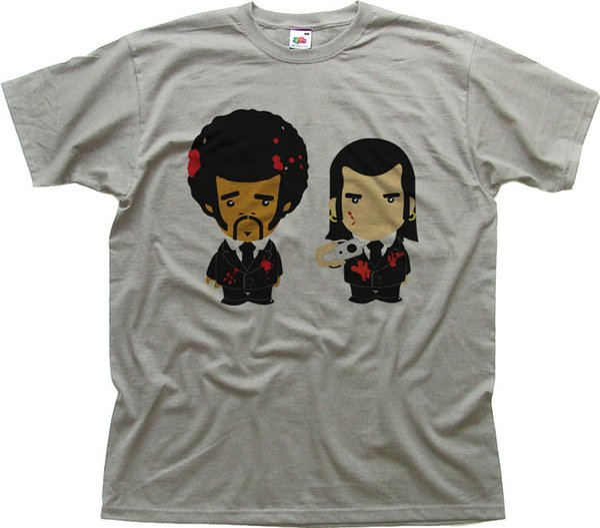 PULP FICTION funny cartoon heather grey cotton printed t-shirt 9955 Brand shirts jeans Print