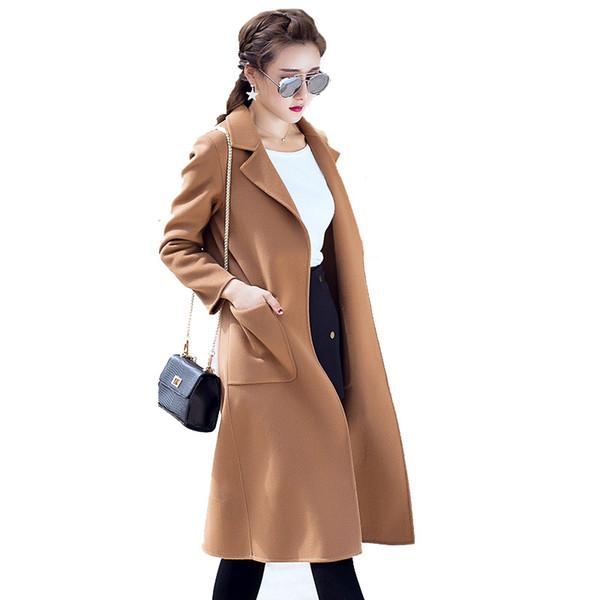Wolljacke Frauen Kaschmir langen Mantel Blends Mantel Dame lose Outwear Winter Weibliche Herbst Trenchcoats Plus Größe BRAUN