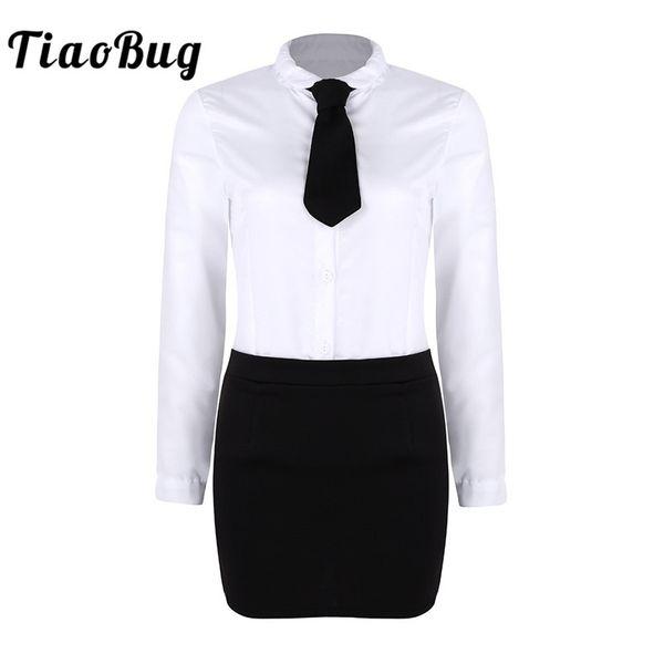 TiaoBug Adulto Branco Turn-down Collar Shirt com Dividir Mini Bodycon Saia Tie Set Escritório Das Senhoras Uniformes Mulheres Trajes Sexy Hot