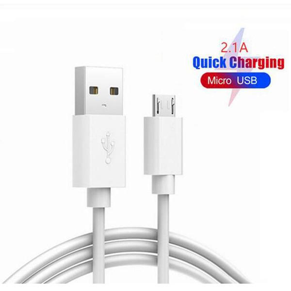 1 M 3ft Hızlı Şarj USB C Tipi Kablo Yüksek Hızlı USB-C Şarj Android Smartphone için Mikro USB Kablosu beyaz