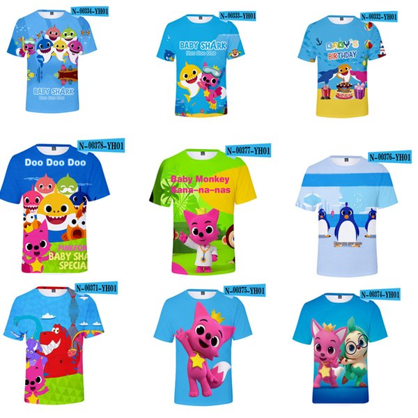 12 Colors baby shark T-shirt kids Summer Cool Print 3D Short Sleeve Round Neck T Shirt Undershirt Fitness Tops wholesale