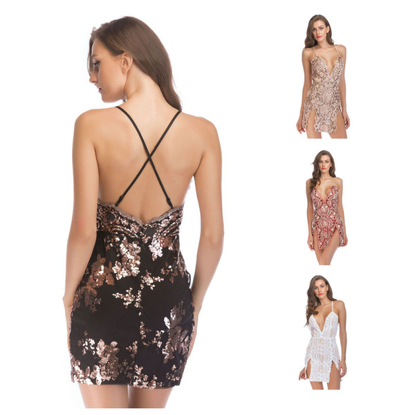 2019 Womens Sexy Sequin Glitter Bodycon Dress V Neck Backless Stretchy Mini Skirt Ladies Summer Short Clubwear Dresses From Gogoyoung 1697