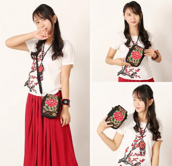 Çin Ulusal Retro Nakış Etnik El Çiçek Kadınlar Çanta Bayan Bez Omuz Çantaları Çapraz vücut Folk-özel Telefonu Çanta Cüzdan