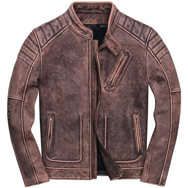 2019 Retro Vintage Brown Motorcycle Leather Jacket Plus Size XXXL Genuine Cowhide Spring Slim Fit Biker's Coat FREE SHIPPING