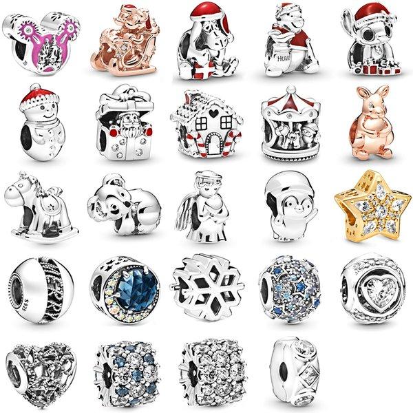 NOUVELLES 2019 100% Argent 925 Pandora Série d'hiver de Noël en or rose Charme animal mignon bricolage Fit original Bracelet Bijoux Cadeaux