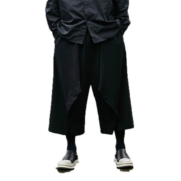 2019 Men Punk Harem Pants Mens Baggy Hiphop Trousers Wide Legs Pants male black Cross-pants Jogger Dance Hiphop Hombre Pantalon