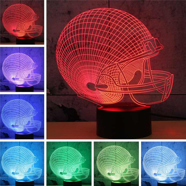 best selling DHL Football Friendship gifts 3D LED Night Light 7 Color Changing building USB Optical Illusion Home Decor Table Lamp Novelty Lighting