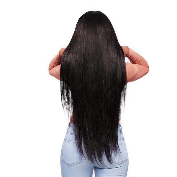 180% Yoğunluk Işlenmemiş Orijinal Gerçek İnsan Uzun Düz Peruk Ile Sentetik Saç Peruk Siyah Kadınlar Için Peruk Ile Peruk Peruk 24 Inç