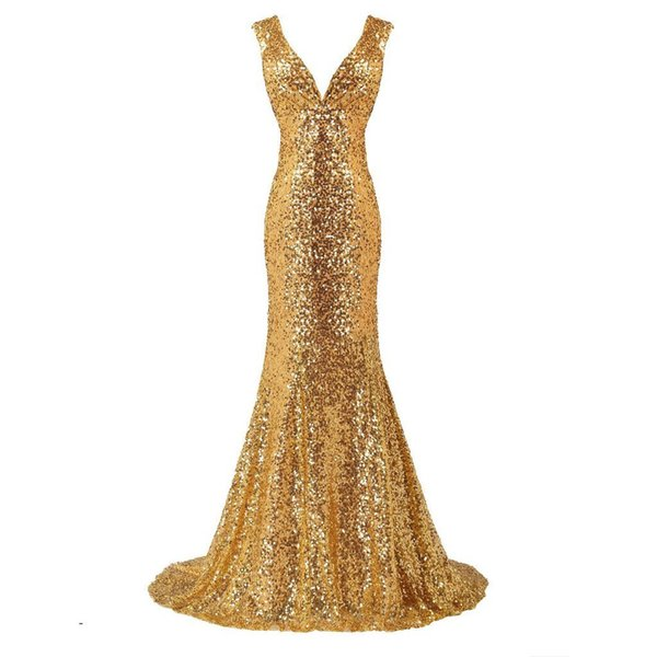 Sexy Sparkle Gold Sequined Mermaid Prom Dresses 2019 Deep V-neck Backless Long Prom Gowns Plus Size