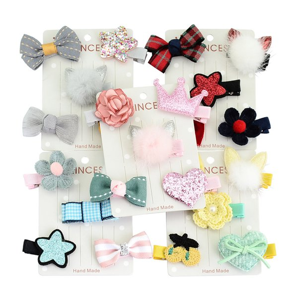 5Pcs/Set 5 Colors Children Baby Girl Toddler Rabbit ears Shape Hair Clip Bow Flower Mini Barrettes Party Star Kids Hairpins