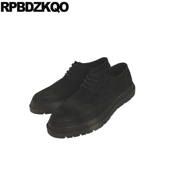 Primavera negro de punta de ala de los hombres zapatos de gamuza formal estilo británico enredaderas boda suela de goma nuevo diseñador de oficina niños con cordones brogue