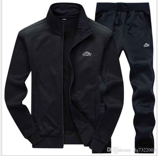 2020 Neue Männer Tracksuits mit Hosen Neue Gyms Set verdicken Fleece Male Herbst Zwei Stück Kleidung Lässige Trainingsanzug Sport sweatsuits