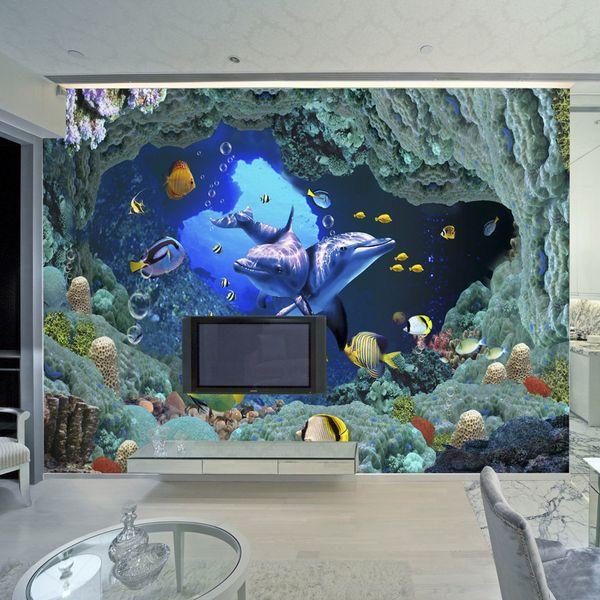 3D Underwater World Wall Mural Cartoon Dolphin Photo Wallpaper For Kids Custom Children Room TV Sofa Backdrop Wall Murals Paper