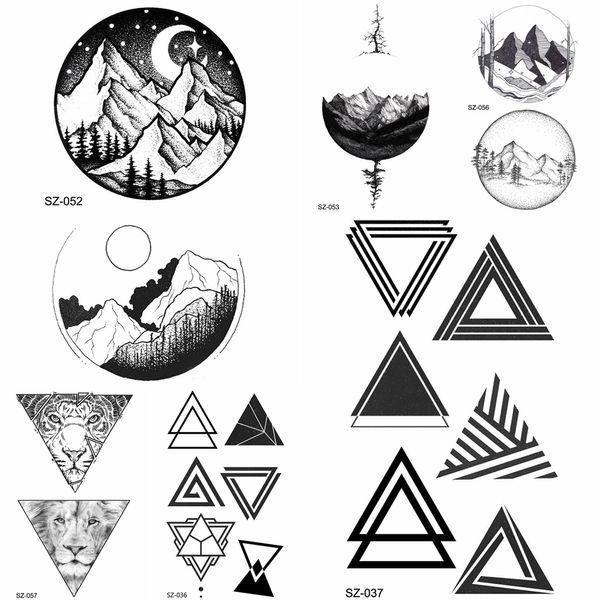 YURAN DIY falso triángulo geométrico tatuaje mujeres Hip Hop tatuaje temporal luna redonda madera tatuaje pegatinas hombres cuerpo brazo flechas