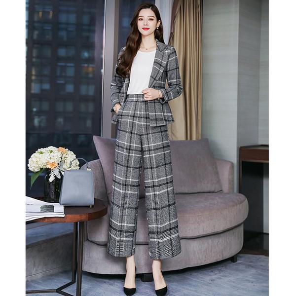 Women's suit spring and autumn new women's plaid casual suit two-piece suit (jacket + pants) women's business wear