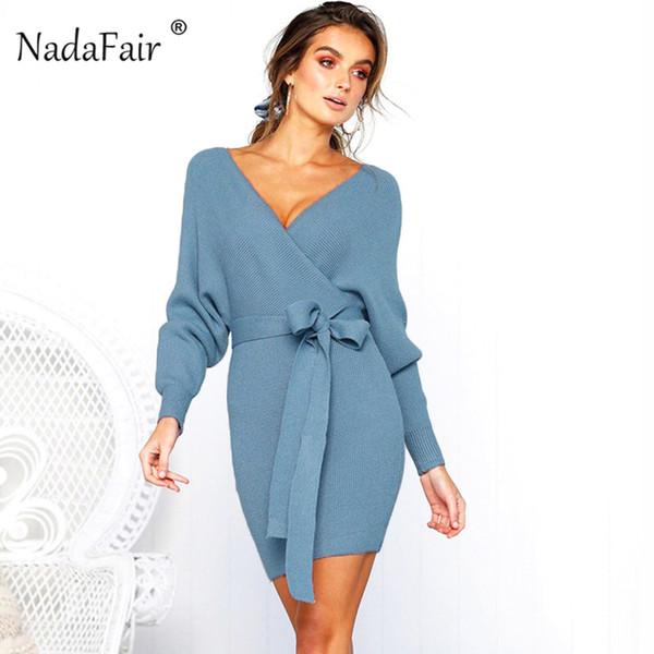 Nadafair V Neck Knitted Sweater Winter Dress Women 2018 Autumn Long Sleeve Sash Mini Bodycon Sexy Dresses Elegant Robe Pull Q190409