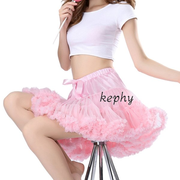 Kephy Livraison gratuite Femmes Jupe Fluffy en mousseline de soie pettiskirts Tulle Jupes filles Princesse Party Jupe pour Lady Tutu Adult