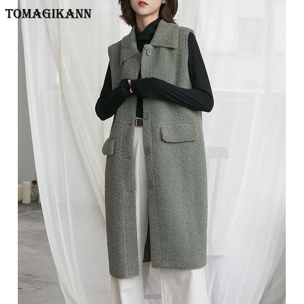 2018 Korean Style Solid Composite Lamb Wool Pockets Long Women Vest Coat Autumn Female Buttons Pockets Turn Down Collar Colete