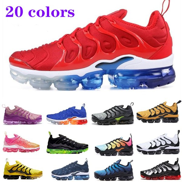 2019 new arrivals tn plus womens Running shoes Triple Black White Sunset Photo Blue Wolf Grey USA chaussures luxury designer Mens sneakers